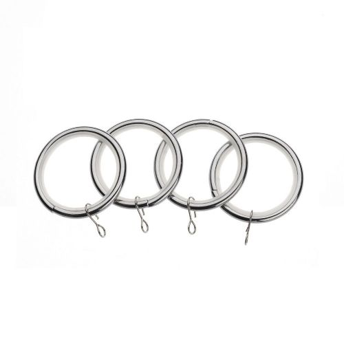 Universal 19mm Metal Curtain Rings (Pack of 4) - Chrome